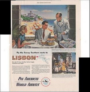 Pan American World Airlines To Lisbon Travel 1948 Vintage Antique