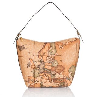 ALVIERO MARTINI 1^ CLASSE GOLD WOMAN SHOULDER BAG MAP PRINT LMN683