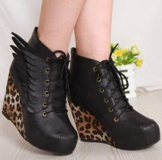 Angel Wings Sexy Wedge Heels Platform Leopard Round Toe Womens Boots