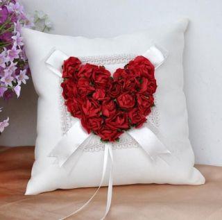 Ivory Red Rose Heart shape Wedding Ceremony Satin Ring Bearer Pillow