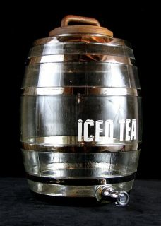 Vintage ICED TEA Glass Barrel Dispenser