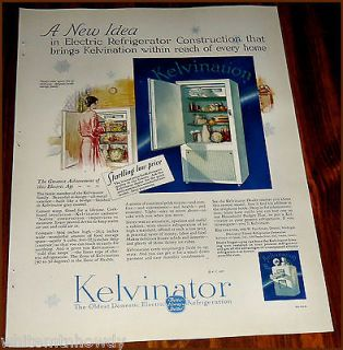 1927 KELVINATOR Antique Electric REFRIGERATOR Kitchen AD