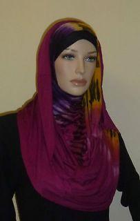 Scarf Hijab Shawl Cotton Jersey Pashmina Jilbab Tie Dye 78X 23 inch