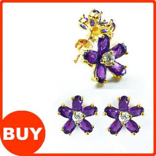 Purple Amethyst 18K Yellow Gold Plated Earrings Stud Earrings Lady