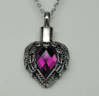 HEART CREMATION URN NECKLACE ANGEL WINGS CREMATION JEWELRY PET URN