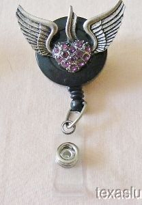 Angel Wings Heart ID Badge Tag Key Glass Holder Lanyard Retractable