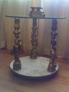 HOLLYWOOD REGENCY CHERUB FIGURAL FRENCH PROVINCIAL NIGHTSTANDS TABLES