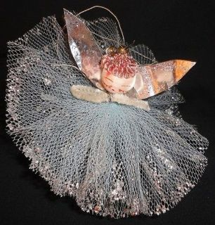 Vintage Angel Christmas Ornament Net Dress Tin Wings Mercury Bulb Halo