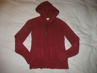 Sz S Small Maurices Burgundy Hoodie Zip Front Cardigan Sweater Angora