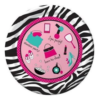 Zebra Boutique Party   Pink Zebra Print Icons Dinner Plates x 8