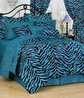 BLUE ZEBRA PRINT COMPLETE BEDDING SETS