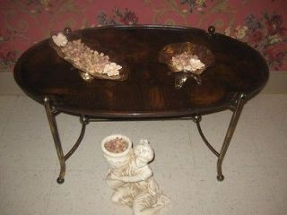 Wood Oval Coffee Table Metal Legs Estate full of Ethan Allen find
