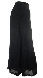 ZUPPE BLACK CHIFFON WIDE PALAZZO TROUSERS LINED ELASTICATED WAIST