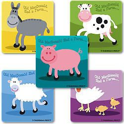 FARM ANIMALS Sticker Kids Party Goody Loot Bag Filler Favor Supply