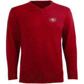 Antigua Mens San Francisco 49ers Ambassador V Neck Sweater