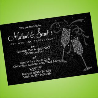 25th Silver Personalised Wedding Anniversary Invitations Invites