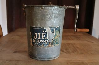 Antique The Jiffy Freeze Ice Cream Maker Machine Churn Metal Bucket