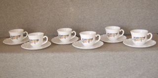 Arcopal France~Express o Cups & Saucers~6 sets~white milk glass w