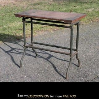 Vintage Oak Green Metal TABLE Workbench Machine Age Industrial Shop