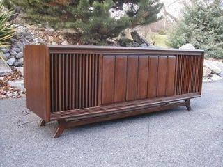 vintage stereo console credenza cabinet Sylvania 60s Mid century