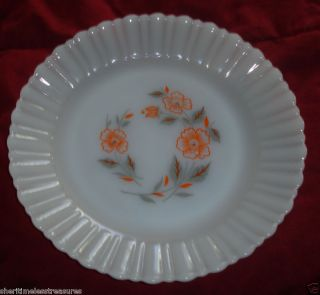 Vintage Termocrisa White Milk Glass Bread Plates Mexico Orange Flowers