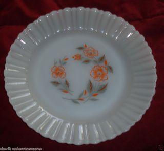 Vintage Termocrisa White Milk Glass Bread Plates Mexico Orange Flowers
