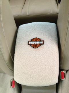 Auto Center Console Armrest Covers F6 LT.TAN W/ HARLEY DAVIDSON PATCH