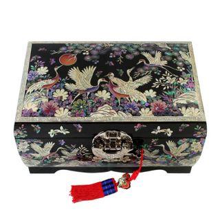 Pearl Black Lacquer Wooden Decorative Lock Jewelry Treasure Chest Box