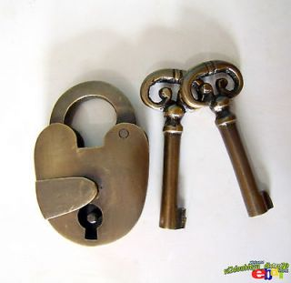 Antique Vintage OLD BRASS PADLOCK with Skeleton KEYS SAFE LOCK UNUSED