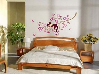 Newly listed A Monkey Pink Flower Blossom Tree Reusable Wall stickers