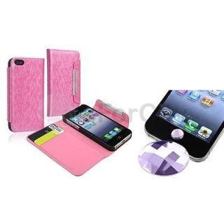 Diamond Sticker+Luxury Pink Wallet Leather Case For Apple iPhone 5 Gen