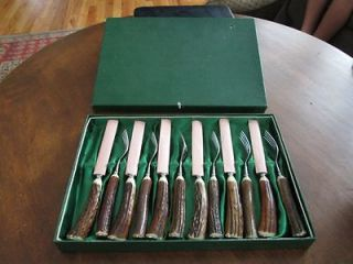 UNUSED Vintage Anton Wingen GERMANY 12 Stag Steak Knife Knives/Forks