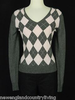APT. 9 100% Cashmere Sweater Sz S Gray/Pink Argyle Pattern V Neck