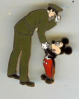 DISNEY MICKEY SHAKING HANDS THANKS ARMY OFFICER SOLDIER MILITARY PIN