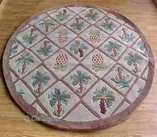 8x8 Round Area Rug Tropical Palm Tree Pineapple Design 1 inch Thick