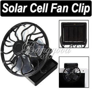 Solar Cell Fan Sun Power Energy Panel Clip on Cooling Cooler Camping