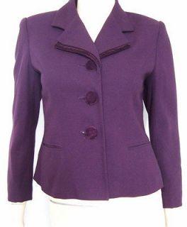 KASPER PETITE Arthur S Levine Amethyst Purple Velvet Tailored Blazer