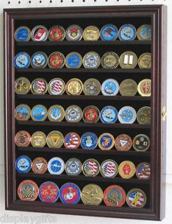 56 Military Challenge Coin Display Case Cabinet Wall Rack, medal flag