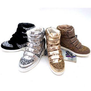 Womens Leopard Print Velcro Strap High Top Wedge Sneakers / Ladies