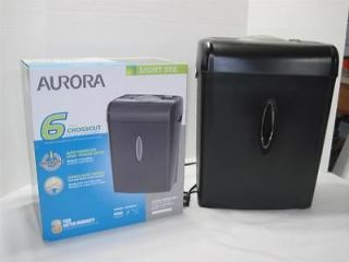 Aurora Light Use 6 Sheet Crosscut Paper Credit Card Shredder
