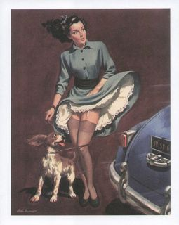 ARTHUR SARNOFF pinup print   woman walking spaniel dog