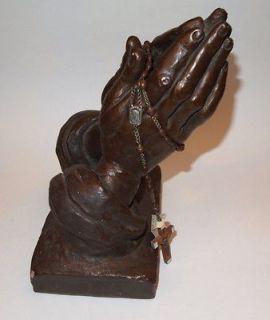 Praying Hands Austin 1962 ROSARY HOLDER Sculpture Paper Weight Statue