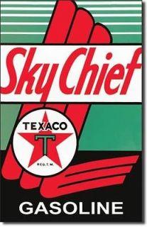 Sky Chief Oil Gas Gasoline Automotive Car Garage Round Tin Metal Sign