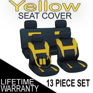 Yellow Black Auto Car Seat Cover FREE Steering Wheel Belt Pad Head Re