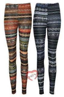 Womans Knitted Aztec Tribal Floral Print Full Length Legging Ladies