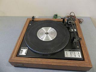 Vintage garrard turntable gt55 belt drive wood veneer works/turns