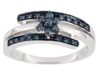 Delicate .20ctw Blue Diamond Bypass Flower Ring .925 Sterling Silver $