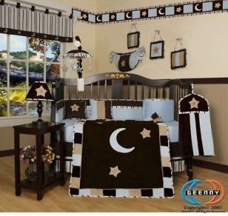 Newly listed Blue Brown Moon & Star 13P Baby CRIB BEDDING SET