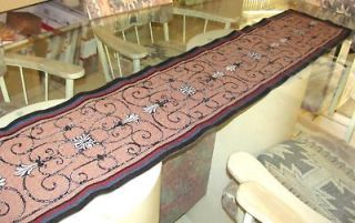 TAN SCROLL TAPESTRY 117 x 13 TABLE RUNNER, MANTLE SCARF, bed scarf