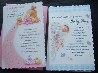 Baby Boy / Girl CHRISTENING Quality Card With Lovely Verses L@@K